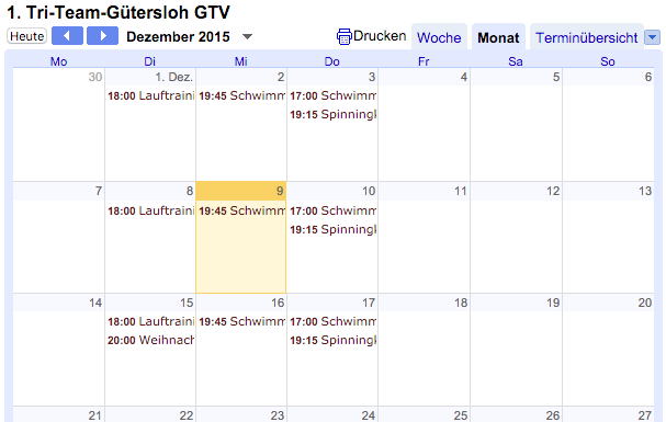 Öffentlicher Vereinskalender